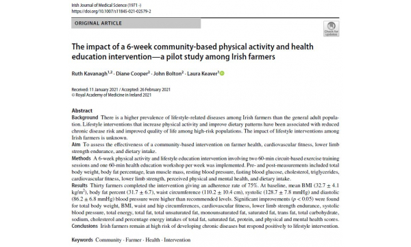 Our Research on farmer health is published in the Irish Journal of Medical Science!