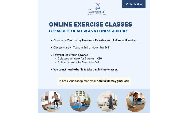 5 weeks of online exercise classes (NOV-DEC 21)